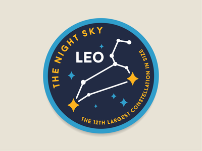 The Night sky space planet outerspace galaxy discover badge stars constellation leo patch