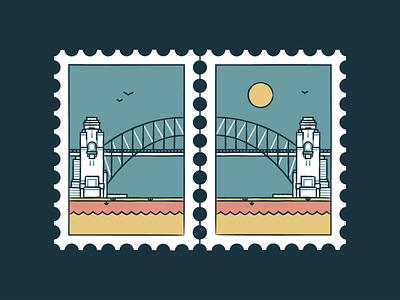 Sydney Harbour Bridge australia landskape sky sunset icon set vector turist travel stamp landmark illustration icon design city bridge building branding sydney architecture