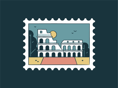 Colosseum world wonder travel tourism symbol sunset rome monuments landmark italy icon set iconography icon graphic card buildings badge architecture