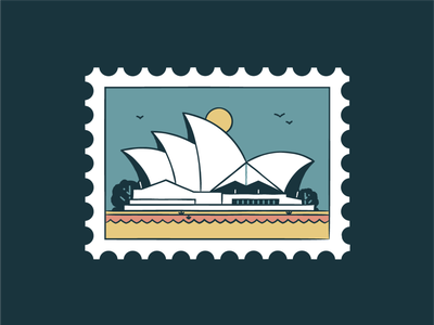 Sydney Opera House vector turist travel sydney sunset stamp sky landskape landmark illustration icon set icon design city building australia architecture
