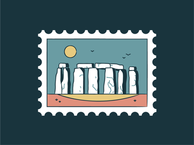 Stonehenge line icon icon set badge monument memorial landscape sunset post mark stones design illustration vector travel ruins england celtic stamp