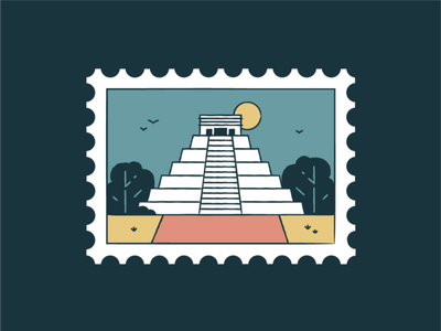 Chichen Itza wonder world travel tourism symbol sunset piramids monuments landmark icon set icons iconography graphic architecture