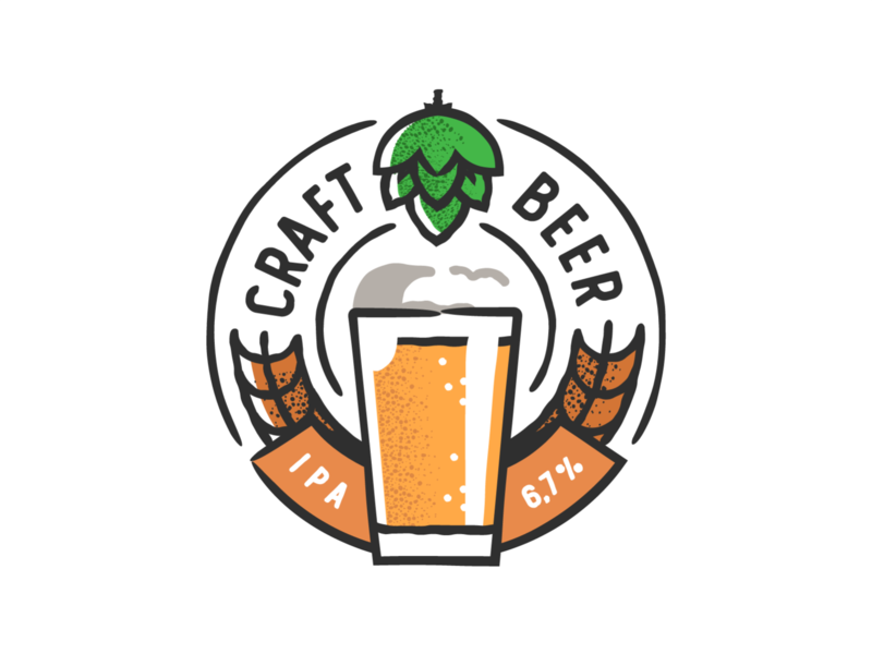 Craft Beer badge design plant symbol label badge brewery branding craft beer typography type logo ipa illustration identity hops craft brew brand beer alcohol