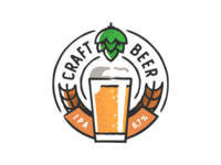 Craft Beer badge design plant symbol label badge brewery branding craft beer typography type logo ipa illustration identity hops craft brew brand beer alcohol