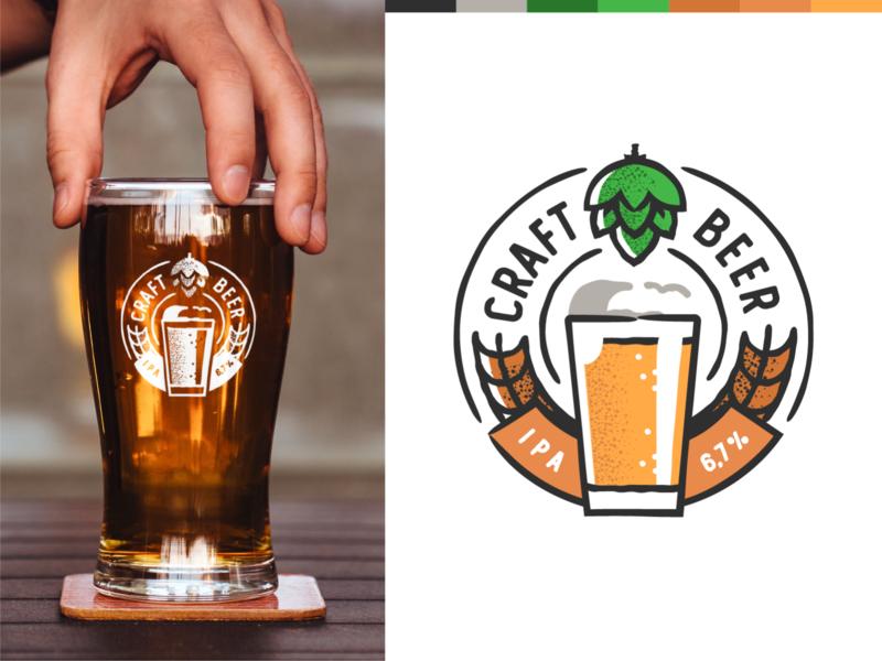 Ipa Beer mocup design plant symbol label badge brewery branding craft beer typography type logo ipa illustration identity hops craft brew brand beer alcohol