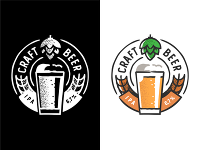 Craft Beer design plant symbol label badge brewery branding craft beer typography type logo ipa illustration identity hops craft brew brand beer alcohol