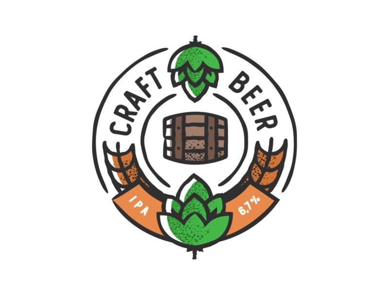 Craft Hops badge design plant symbol label badge brewery branding craft beer typography type logo ipa illustration identity hops craft brew brand beer alcohol