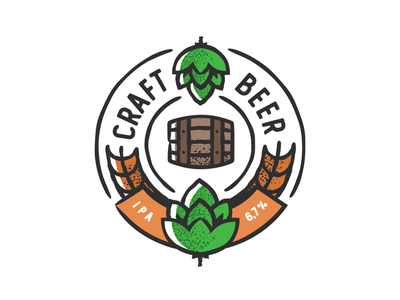 Craft Hops badge design plant symbol label badge brewery branding craft beer typography type logo ipa illustration identity hops craft brew brand beer alcohol
