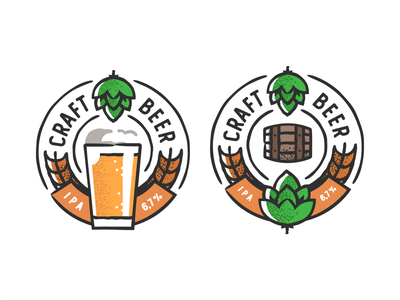 Craft Beer logo design plant symbol label badge brewery branding craft beer typography type logo ipa illustration identity hops craft brew brand beer alcohol