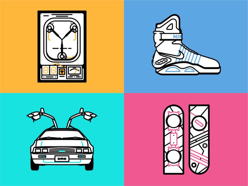 Back to the Future Icons vector time sneakers shoes retro pepsi nike mcfly marty kicks illustration icon set hoverboard future evolution design delorean back to the future air mag 80s