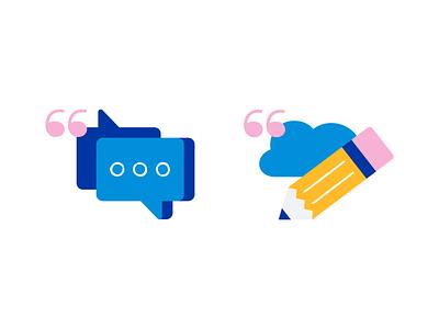Message and Pen 💬✏️ socialmedia minimal mark logo iconography app icon bubble branding design illustraion icons icon set icon type cloud messages chat pen message