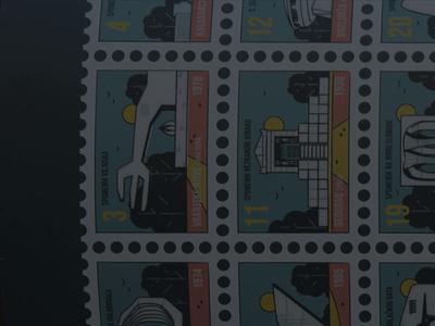SFRJ Monuments video retro iconography icon set symbol stamp travel montenegro places landmarks buildings architecture yugoslavia design slovenia sfrj serbia macedonia croatia bosnia
