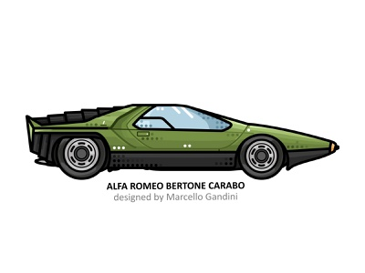Alfa Romeo Carabo vehicle vector steel speed outline futuristic fast line illustrator iconic icon film engine dots design car american action