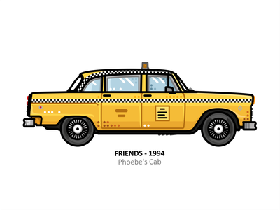 Phoebe's Cab illustration vehicle vector steel taxi outline line illustrator iconic icon tv show fast engine dots design car american friends