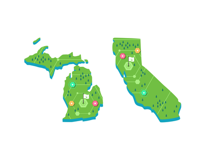 Michigan & California usa user ui ux symbol store roadmap navigation mobile maping map locations location ios illustration icon set iconography events branding
