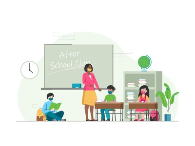 After School Club web user team school peoples parents lesson page landing childrens icon set learning education design class coworking masks collaboration chat app