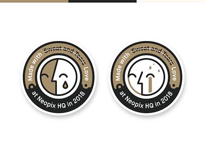 Neopix badge sweat pin monogram mockup minimal mark love logo work line illustration identity icon heart face eye design cry color badge