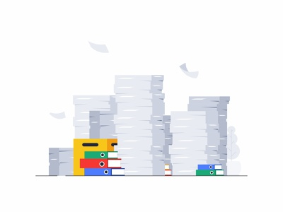 Papers minimal explainer video 2d ordered messy icons files flying papers chaos work vector design illustration office graphic financial documents