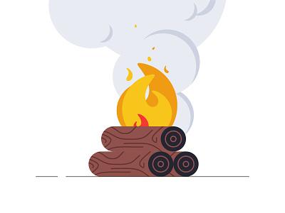Bon Fire smoke forest tree warm vector illustration friendly flat fire campfire camp burning