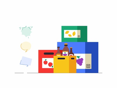 Boxes 🍎🍇🍋🍾📦 web vector apple container simple outline fruits message illustration icon set icons box boxes delivery design packaging chat branding animation 2d