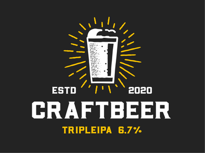 Craft Beer black alcohol beer brand brew craft hops identity illustration ipa logo type typography craft beer branding brewery badge label symbol font design
