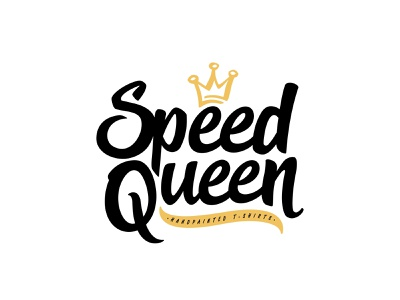 Speed Queen white vector shape girl female branding icon type logo identity illustration mark minimal crowns crown king queen princess royal royalty