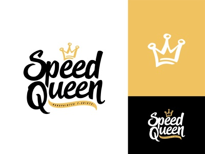 Speed Queen final vector shape girl female branding icon type logo identity illustration mark minimal crowns crown king queen princess royal royalty