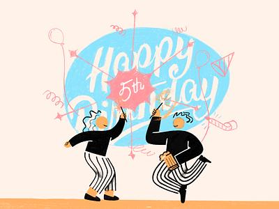 Happy 5th Birthday cartoon procreate character card birthday announcement birth illustration celebration boy girl man woman joy party brush friendship friends decoration