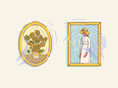Sunflowers & Girl in White oil paintings gallery framed paintings painting famous outline vector illustration art museum digital icon set design icon iconography