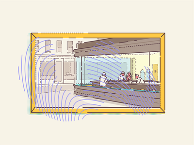 Edward Hopper Nighthawks downtown diner gallery framed paintings painting famous illustrator outline vector minimal illustration art museum digital icon set design icon iconography