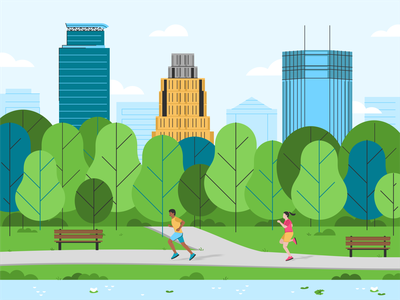 Minneapolis 🏙️ ids tower wells fargo center minneapolis capella tower line art town color vector america usa running characters skyline lake michigan landscape buildings tree park illustration city