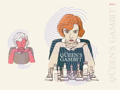 The Queen's Gambit chess piece drugs pills chessboard sport drama netflix cute outline vector chess the queens gambit illustration crown lips poster illustrator adobe queen