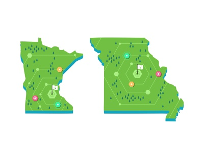 Minnesota   Missouri branding events iconography icon set illustration ios location locations map maping mobile navigation roadmap store symbol ui ux user usa
