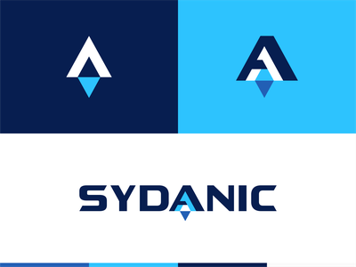 Sydanic Blue typo font geometric consulting spaceship icon letter fly space rocket logo symbol mark identity typography logotype design illustration monogram branding
