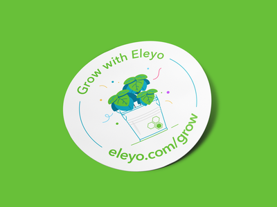 Eleyo sticker packing branding simple flower greenery bio eco vegan plant illustration plants nature mocup design graphic sticker outline flat successful success