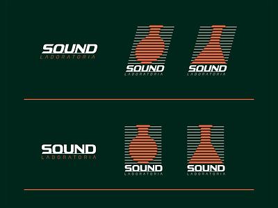 Sound Laboratoria final sound logotype identity typography monogram symbol logo mark line design branding erlenmeyer flask illustration illustrator scientist fiole laboratory science