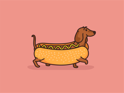 Hot Dog Dachshund logo animal branding cartoon character creative cute dachshund design dog hotdog icon icon set illustration mascot pet sticker vector wiener