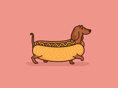 Hot Dog Dachshund logo animal branding cartoon character creative cute dachshund design dog hotdog icon icon set illustration mascot pet sticker vector wiener