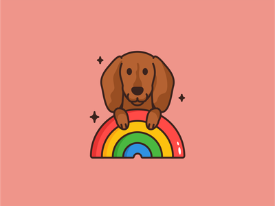 Rainbow Dachshund logo animal branding cartoon character creative cute dachshund design dog hotdog icon icon set illustration mascot pet sticker vector wiener