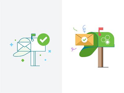 Mailbox check mailbox app card design illustration mail message mobile ui ux web alert company box marketing icon email invite branding