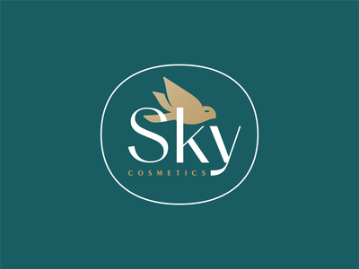 Sky Cosmetics mark icon branding symbol design logo logodesign geometric illustration bird heart love wings dove monoline logos identity brand