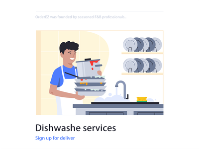 Dishwasher washing branding job services illustration vector 2d character design flat web character design kitchen clean dishes