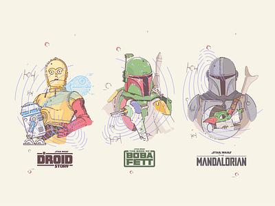 StarWars syfy space imperial jedi lucasfilm c3po grogu illustration stormtrooper themandalorian yoda baby yoda bounty droids r2d2 star wars boba fett mandalorian mando