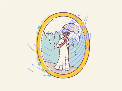 Zena sa sesirom fingerprint iconography icon design icon set digital museum art illustration minimal vector outline illustrator famous painting paintings framed gallery