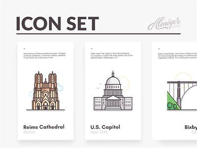 Icon set bridge cloud us capitol icon set vector graphic retro editorial icons iconography travel landmarks cities illustration linework