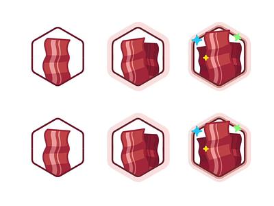 Bacon Lover icon set user startup star burger design level level up bacon outline branding badge illustration animation win ui app champion prize achievement