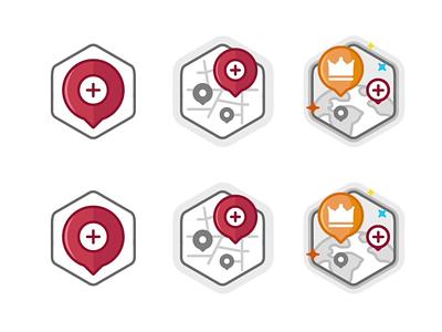 add restaurant street place location star startup icon set burger design level level up outline branding badge illustration animation win ui app prize achievement