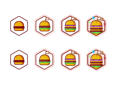 Review a Burger american burger badge cheeseburger achievement food illustration illustrator line minimal animation vector level up leveling icon set icons delicious fast food meat
