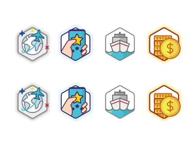 Random Achievement coin star startup icon set burger design level level up outline branding badge illustration animation win ui app champion prize achievement