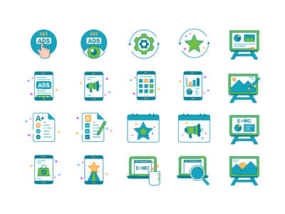 Icons set No.3 simple iconography product design application future minimal collection icon set web app concept symbol ui transparent icon gradient abstract vector